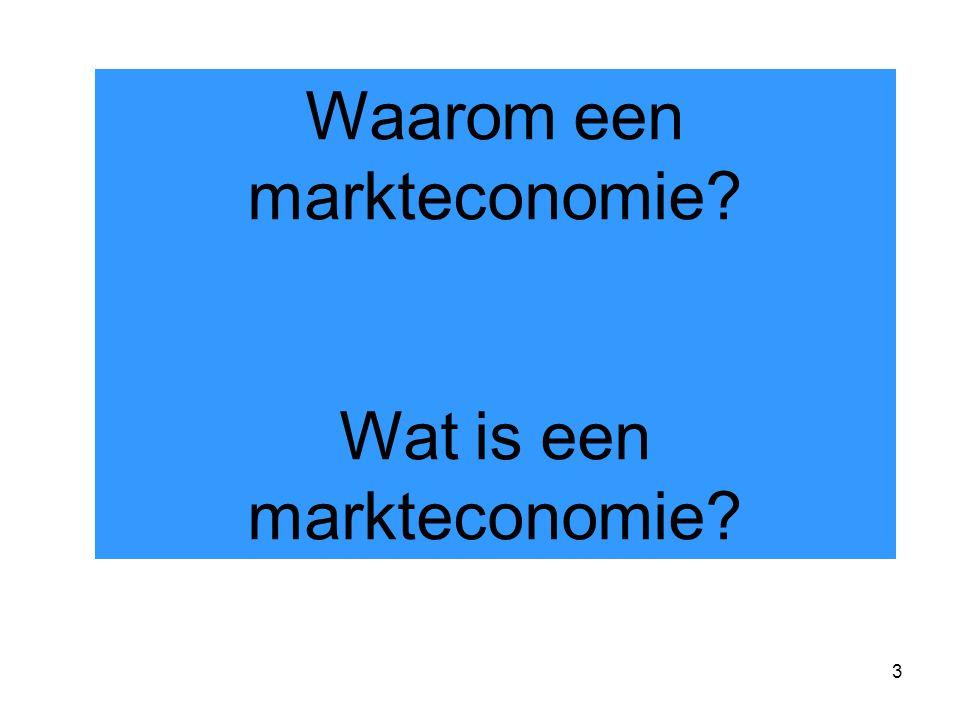3 Waarom een markteconomie Wat is een markteconomie