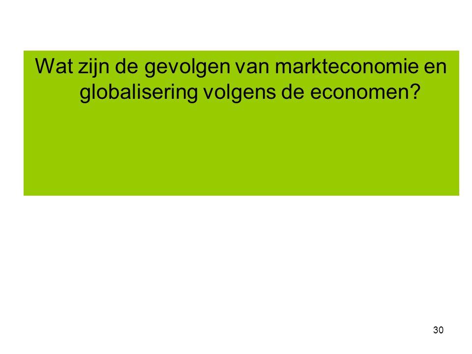 30 Wat zijn de gevolgen van markteconomie en globalisering volgens de economen