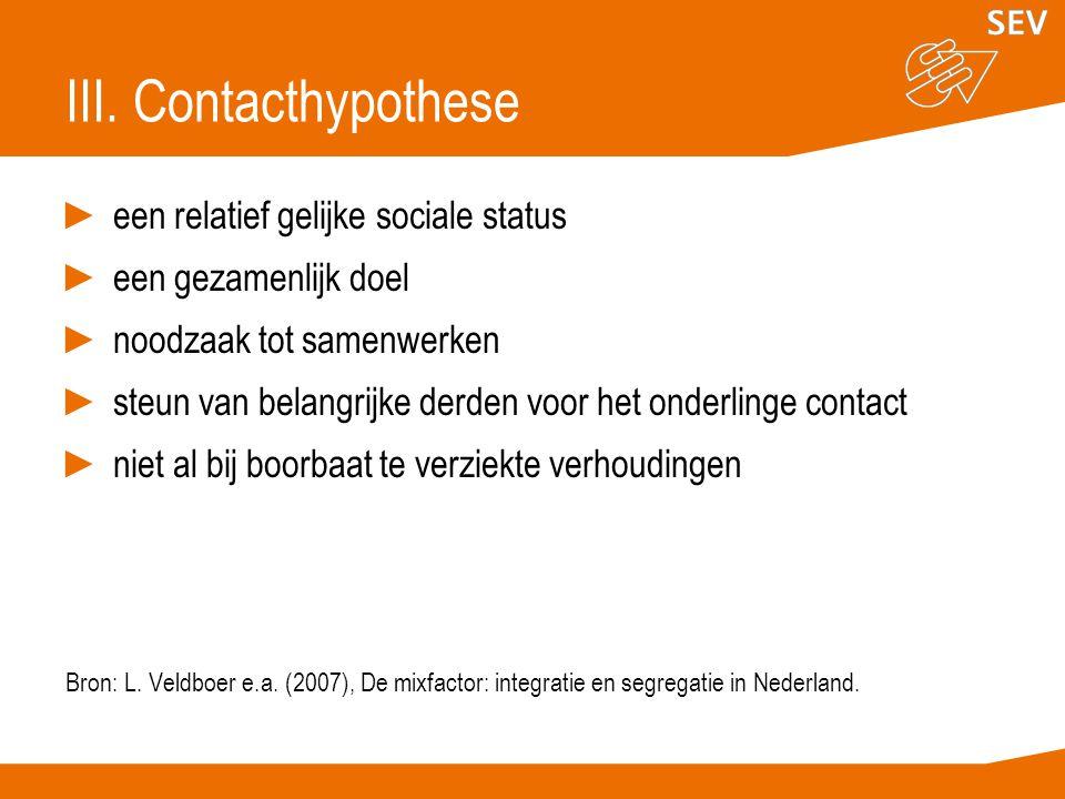 III. Contacthypothese ►een relatief gelijke sociale status ►een gezamenlijk doel ►noodzaak tot samenwerken ►steun van belangrijke derden voor het onde