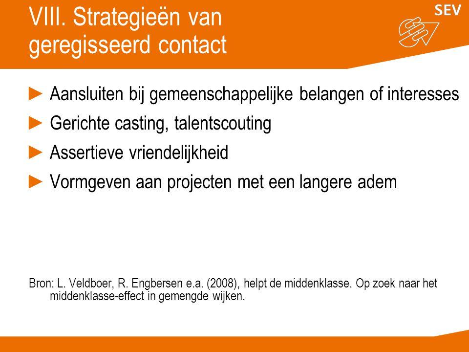 VIII. Strategieën van geregisseerd contact ►Aansluiten bij gemeenschappelijke belangen of interesses ►Gerichte casting, talentscouting ►Assertieve vri