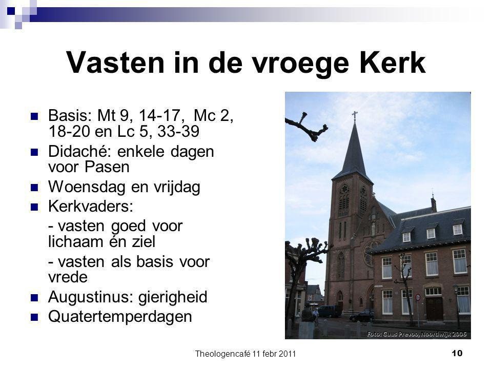 Theologencafé 11 febr 2011 10 Vasten in de vroege Kerk Basis: Mt 9, 14-17, Mc 2, 18-20 en Lc 5, 33-39 Didaché: enkele dagen voor Pasen Woensdag en vri