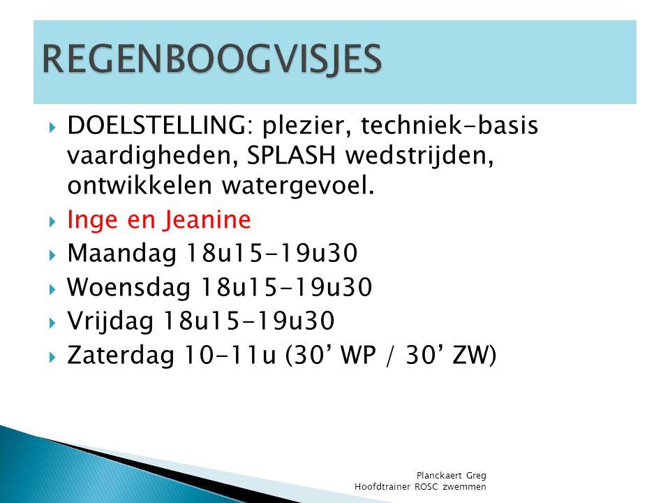  DOELSTELLING: plezier, techniek-basis vaardigheden, SPLASH wedstrijden, ontwikkelen watergevoel.  Inge en Jeanine  Maandag 18u15-19u30  Woensdag