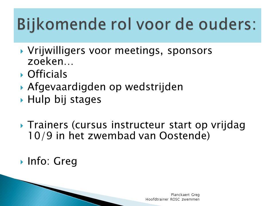  Vrijwilligers voor meetings, sponsors zoeken…  Officials  Afgevaardigden op wedstrijden  Hulp bij stages  Trainers (cursus instructeur start op