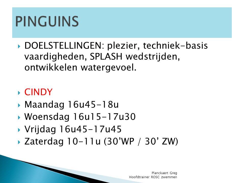  DOELSTELLINGEN: plezier, techniek-basis vaardigheden, SPLASH wedstrijden, ontwikkelen watergevoel.  CINDY  Maandag 16u45-18u  Woensdag 16u15-17u3