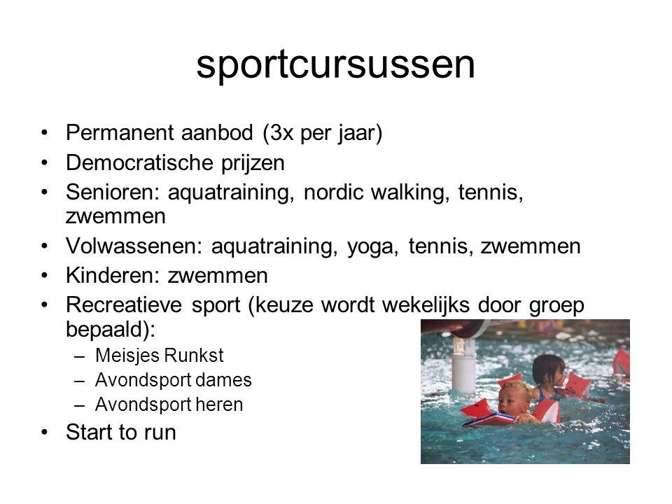 sportcursussen Permanent aanbod (3x per jaar) Democratische prijzen Senioren: aquatraining, nordic walking, tennis, zwemmen Volwassenen: aquatraining,