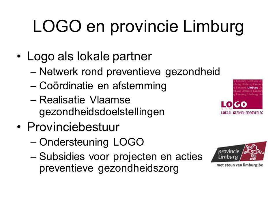 LOGO en provincie Limburg Logo als lokale partner –Netwerk rond preventieve gezondheid –Coördinatie en afstemming –Realisatie Vlaamse gezondheidsdoels