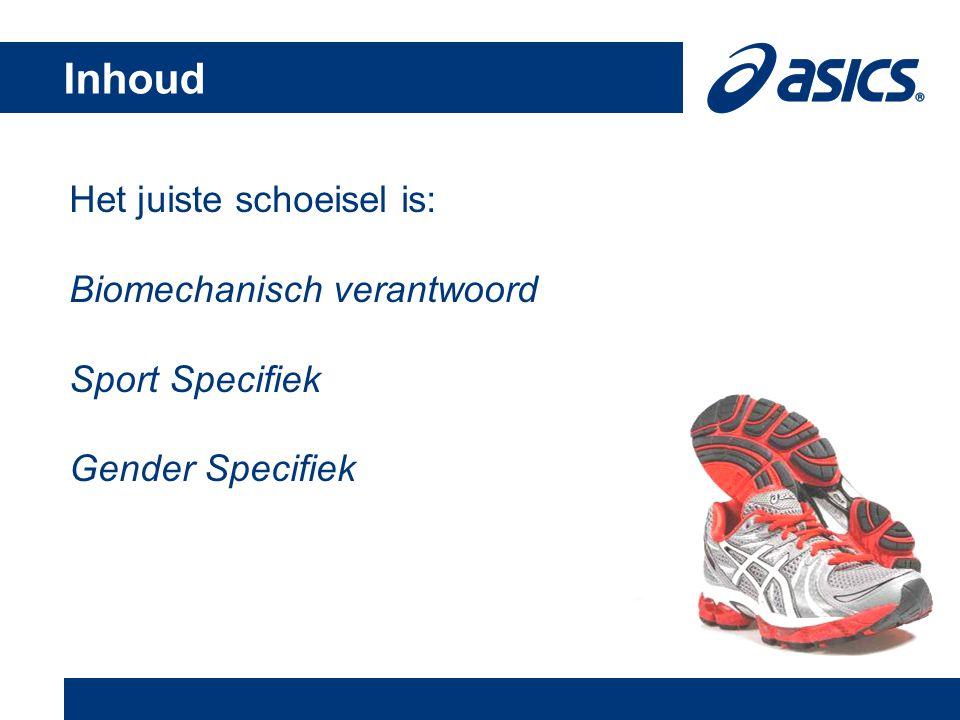 Inhoud Het juiste schoeisel is: Biomechanisch verantwoord Sport Specifiek Gender Specifiek