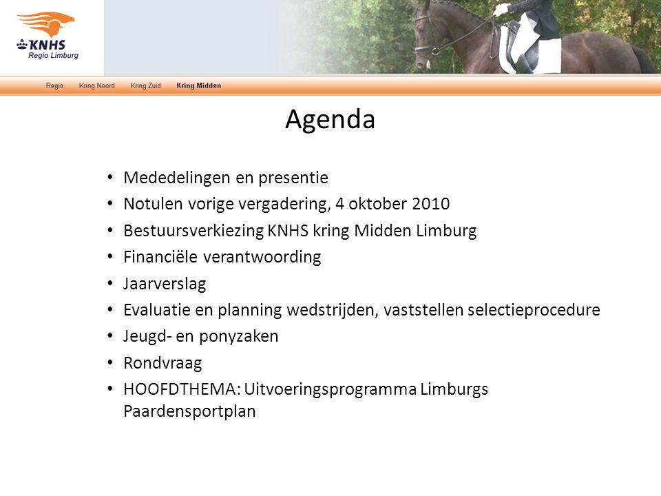 Agenda Mededelingen en presentie Notulen vorige vergadering, 4 oktober 2010 Bestuursverkiezing KNHS kring Midden Limburg Financiële verantwoording Jaa