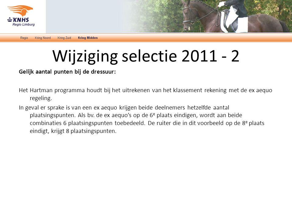 Wijziging selectie 2011 - 2 Gelijk aantal punten bij de dressuur: Het Hartman programma houdt bij het uitrekenen van het klassement rekening met de ex