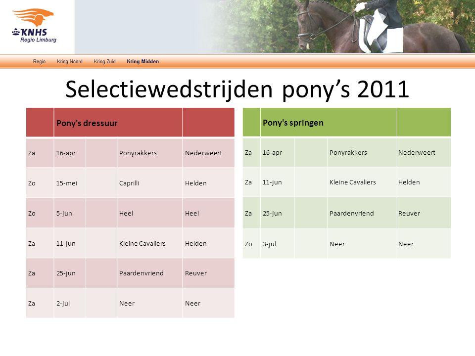 Selectiewedstrijden pony's 2011 Pony's dressuur Za16-aprPonyrakkersNederweert Zo15-meiCaprilliHelden Zo5-junHeel Za11-junKleine CavaliersHelden Za25-j