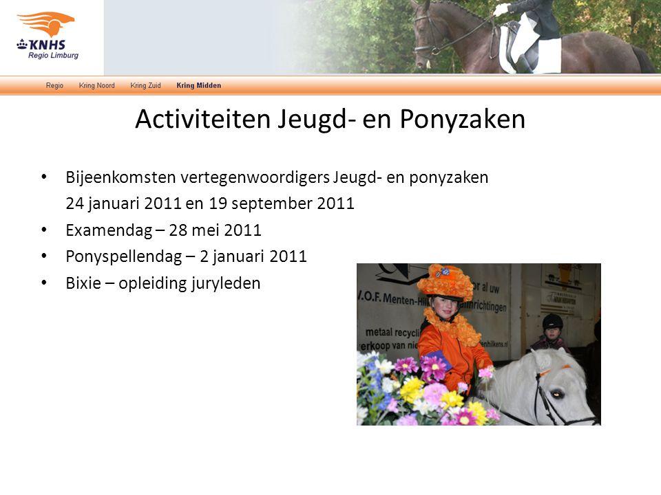 Activiteiten Jeugd- en Ponyzaken Bijeenkomsten vertegenwoordigers Jeugd- en ponyzaken 24 januari 2011 en 19 september 2011 Examendag – 28 mei 2011 Pon