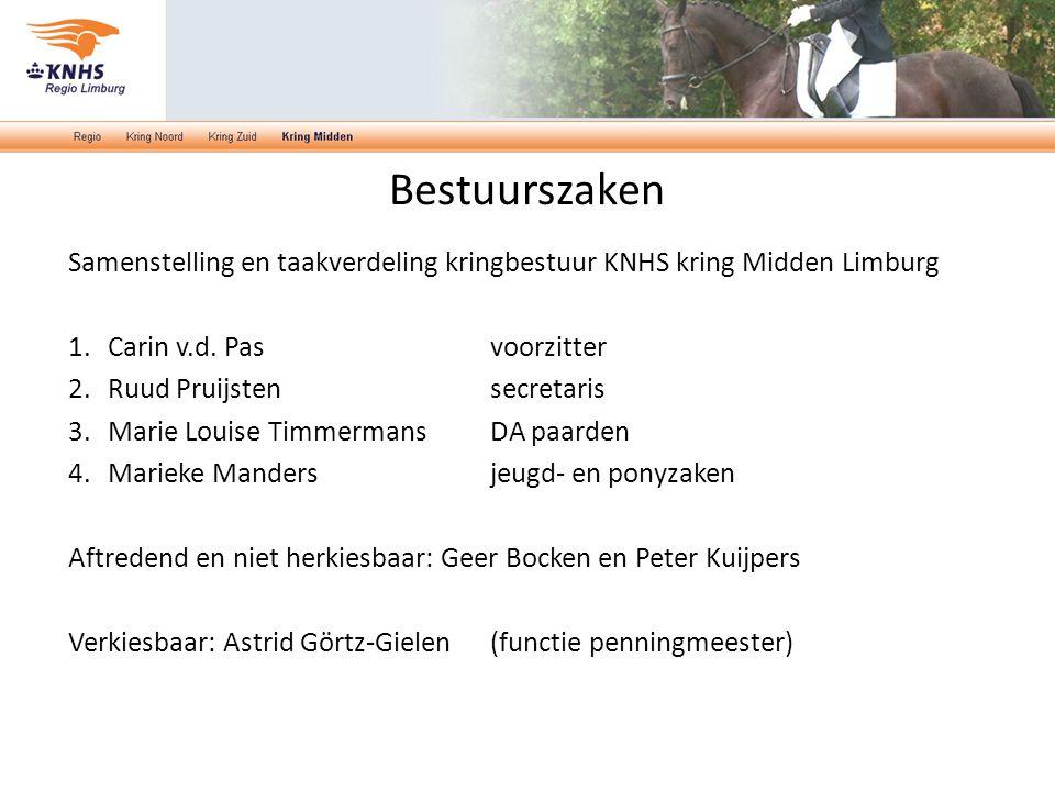Bestuurszaken Samenstelling en taakverdeling kringbestuur KNHS kring Midden Limburg 1.Carin v.d. Pasvoorzitter 2.Ruud Pruijstensecretaris 3.Marie Loui