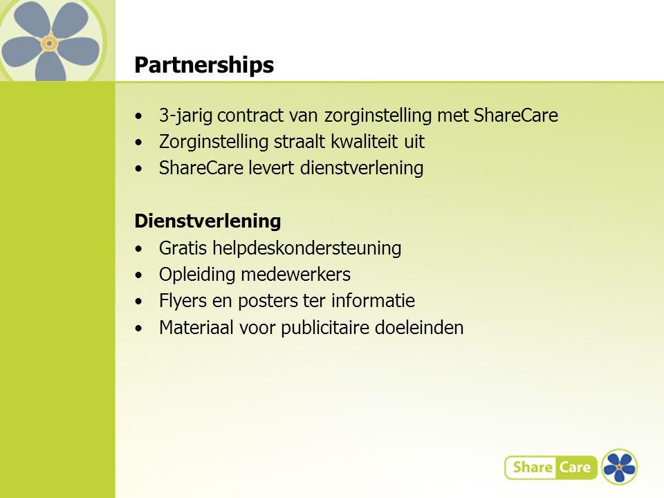 Partnerships 3-jarig contract van zorginstelling met ShareCare Zorginstelling straalt kwaliteit uit ShareCare levert dienstverlening Dienstverlening Gratis helpdeskondersteuning Opleiding medewerkers Flyers en posters ter informatie Materiaal voor publicitaire doeleinden