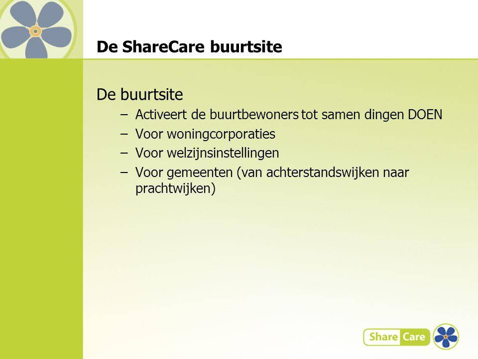 De ShareCare buurtsite De buurtsite –Activeert de buurtbewoners tot samen dingen DOEN –Voor woningcorporaties –Voor welzijnsinstellingen –Voor gemeenten (van achterstandswijken naar prachtwijken)
