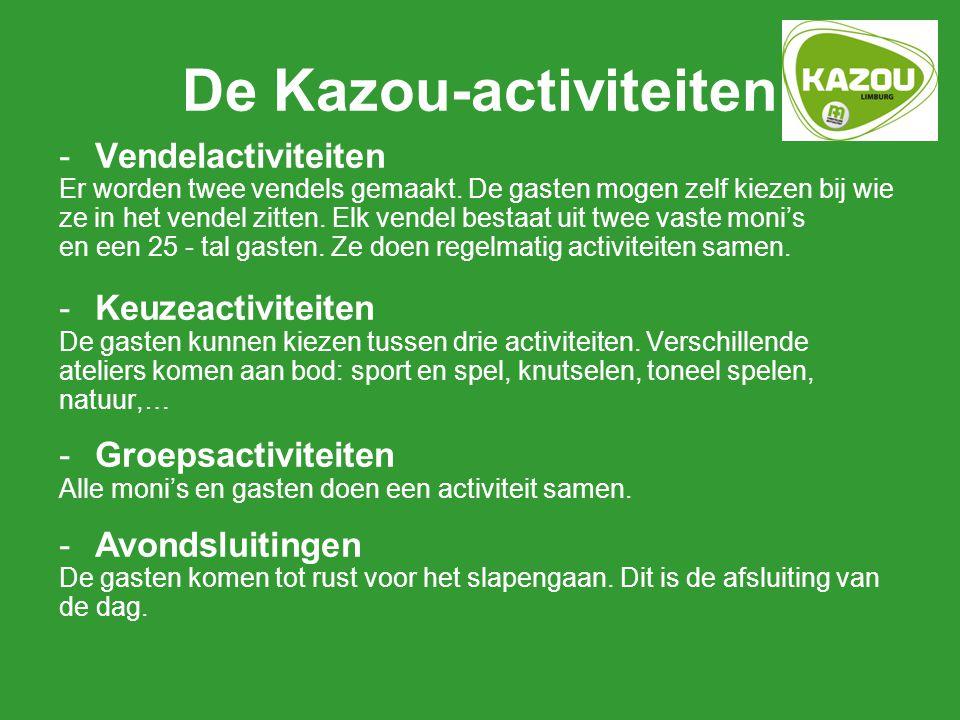 De Kazou-activiteiten -Vendelactiviteiten Er worden twee vendels gemaakt. De gasten mogen zelf kiezen bij wie ze in het vendel zitten. Elk vendel best