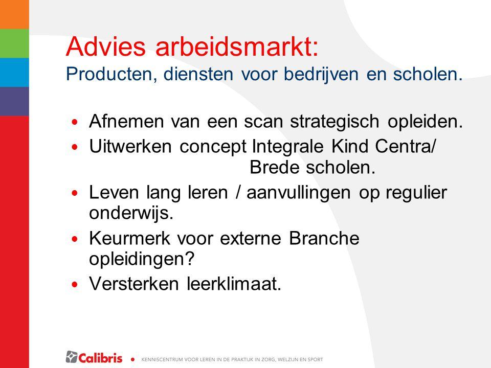 Advies arbeidsmarkt: Producten, diensten voor bedrijven en scholen. Afnemen van een scan strategisch opleiden. Uitwerken concept Integrale Kind Centra