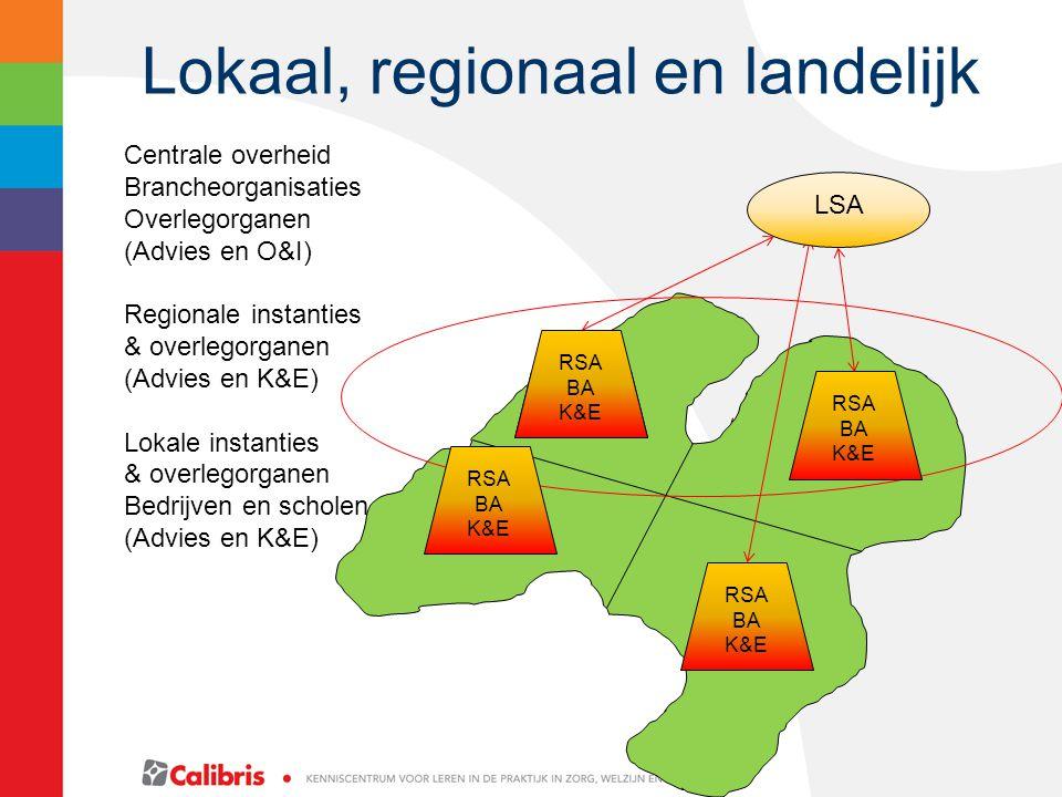 Lokaal, regionaal en landelijk LSA RSA BA K&E RSA BA K&E RSA BA K&E RSA BA K&E Centrale overheid Brancheorganisaties Overlegorganen (Advies en O&I) Regionale instanties & overlegorganen (Advies en K&E) Lokale instanties & overlegorganen Bedrijven en scholen (Advies en K&E)