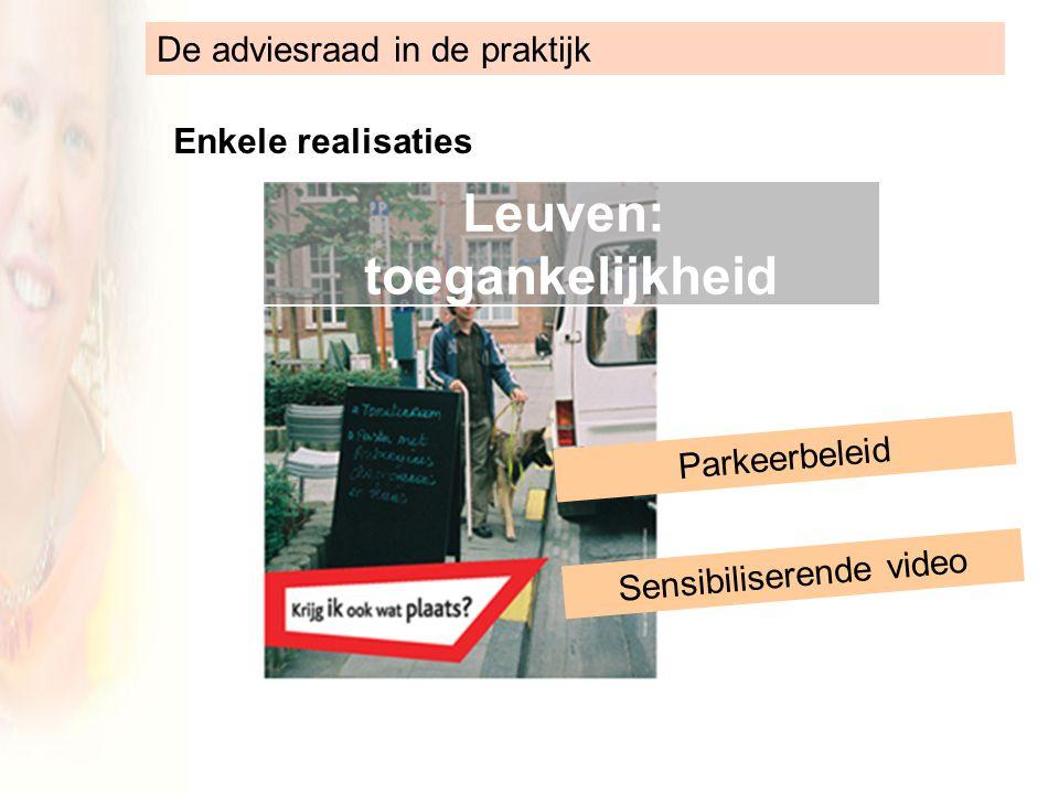 De adviesraad in de praktijk Enkele realisaties Leuven: toegankelijkheid Parkeerbeleid Sensibiliserende video