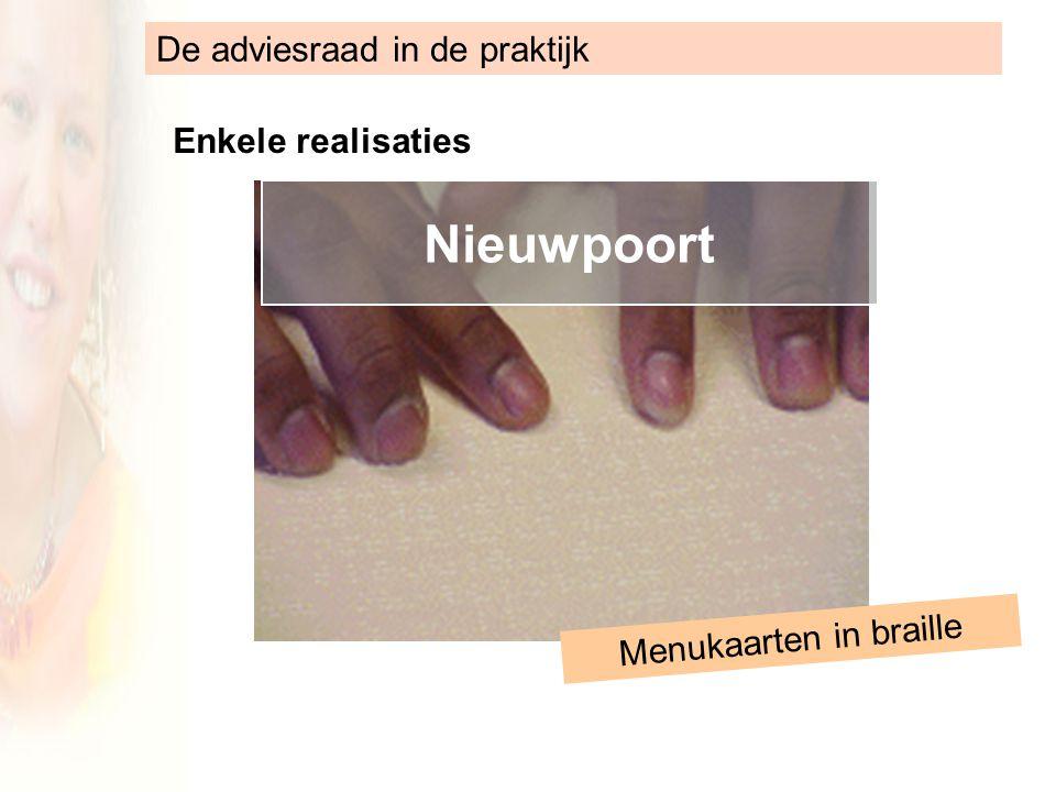 De adviesraad in de praktijk Enkele realisaties Nieuwpoort Menukaarten in braille