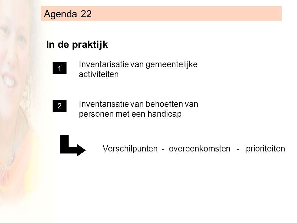 Agenda 22 In de praktijk Inventarisatie van gemeentelijke activiteiten Inventarisatie van behoeften van personen met een handicap Verschilpunten - overeenkomsten - prioriteiten 1 2