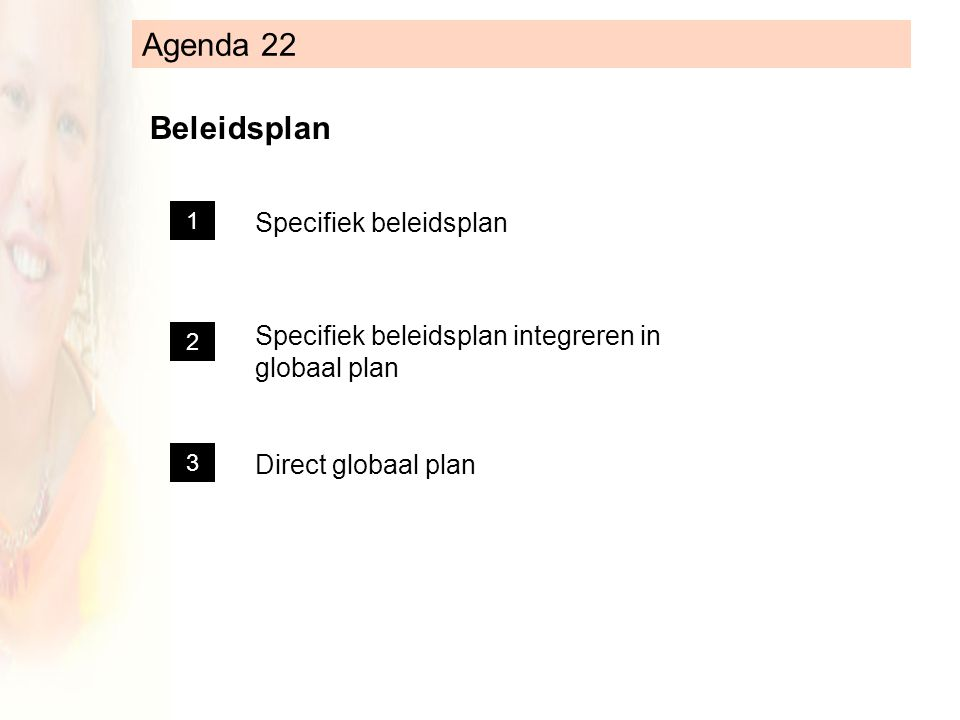 Agenda 22 Beleidsplan Specifiek beleidsplan Specifiek beleidsplan integreren in globaal plan Direct globaal plan 1 2 3