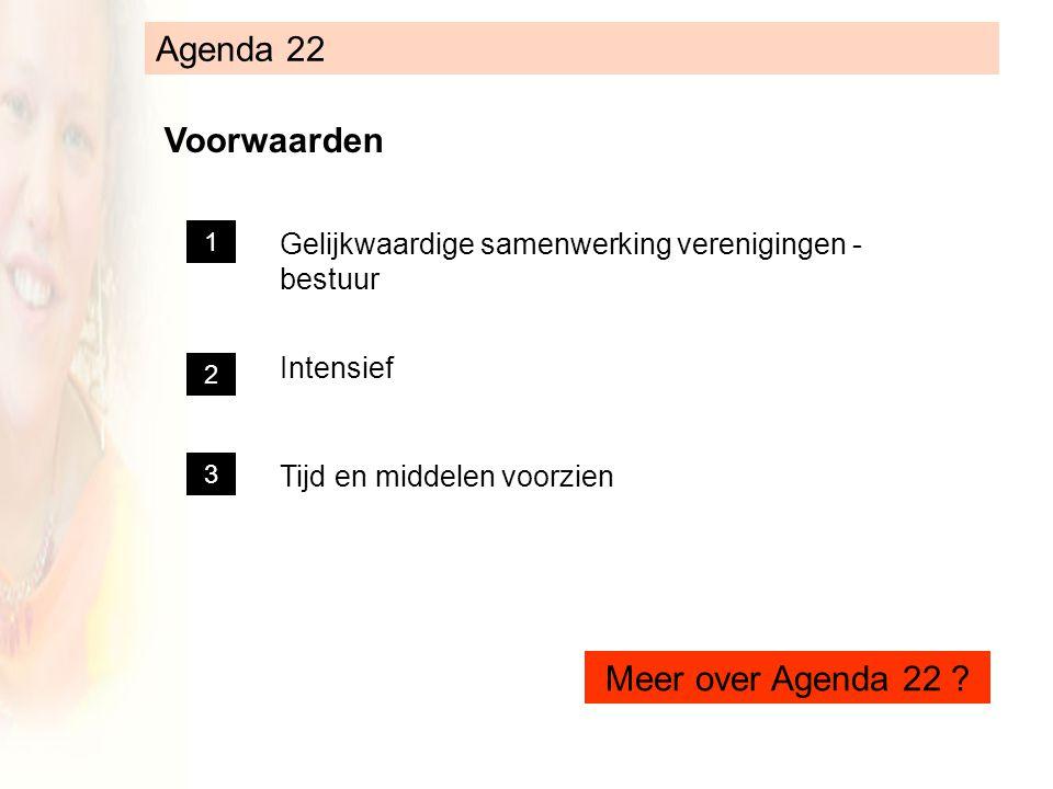 Agenda 22 Voorwaarden Gelijkwaardige samenwerking verenigingen - bestuur Intensief Tijd en middelen voorzien 1 2 3 Meer over Agenda 22