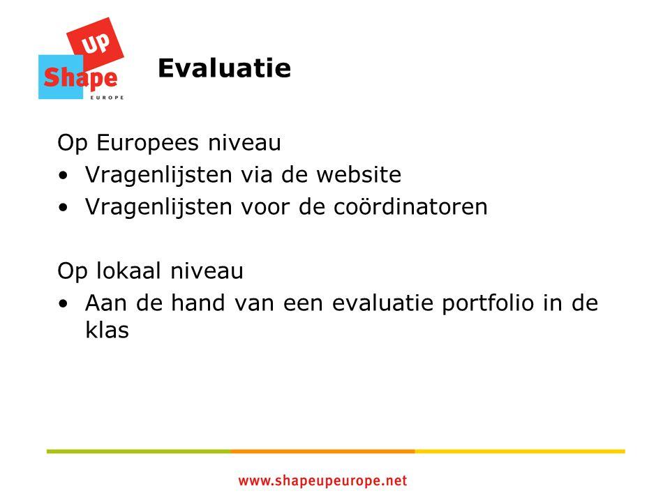 Evaluatie Op Europees niveau Vragenlijsten via de website Vragenlijsten voor de coördinatoren Op lokaal niveau Aan de hand van een evaluatie portfolio in de klas