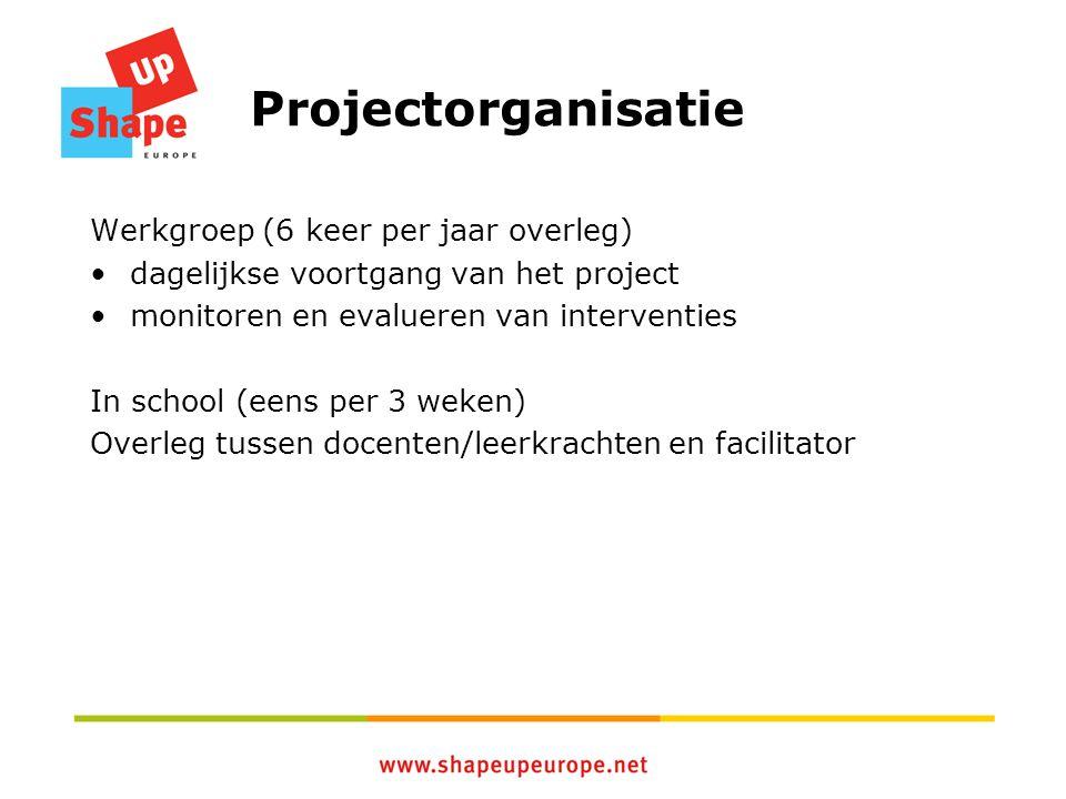 Projectorganisatie Werkgroep (6 keer per jaar overleg) dagelijkse voortgang van het project monitoren en evalueren van interventies In school (eens per 3 weken) Overleg tussen docenten/leerkrachten en facilitator