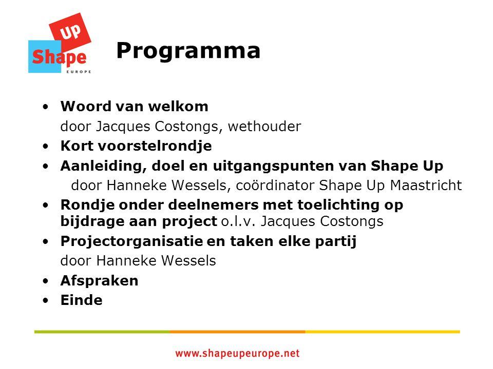 Programma Woord van welkom door Jacques Costongs, wethouder Kort voorstelrondje Aanleiding, doel en uitgangspunten van Shape Up door Hanneke Wessels,