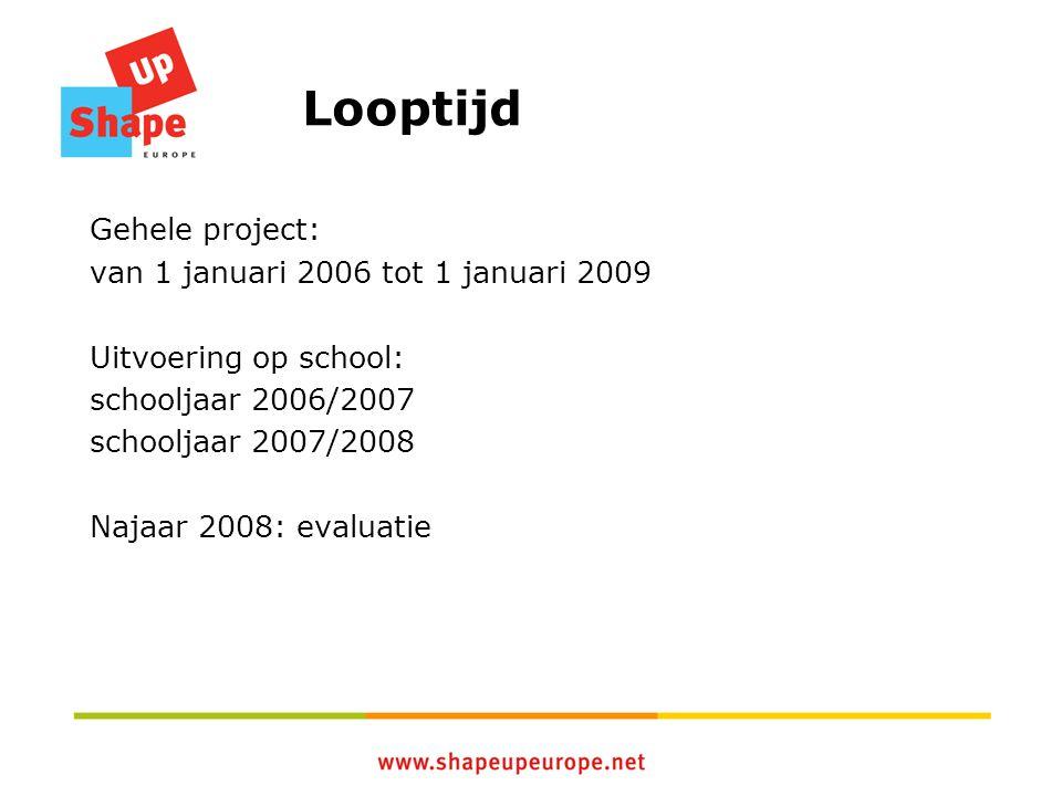 Looptijd Gehele project: van 1 januari 2006 tot 1 januari 2009 Uitvoering op school: schooljaar 2006/2007 schooljaar 2007/2008 Najaar 2008: evaluatie