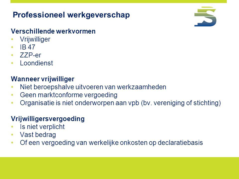 Professioneel werkgeverschap Verschillende werkvormen Vrijwilliger IB 47 ZZP-er Loondienst Wanneer vrijwilliger Niet beroepshalve uitvoeren van werkza