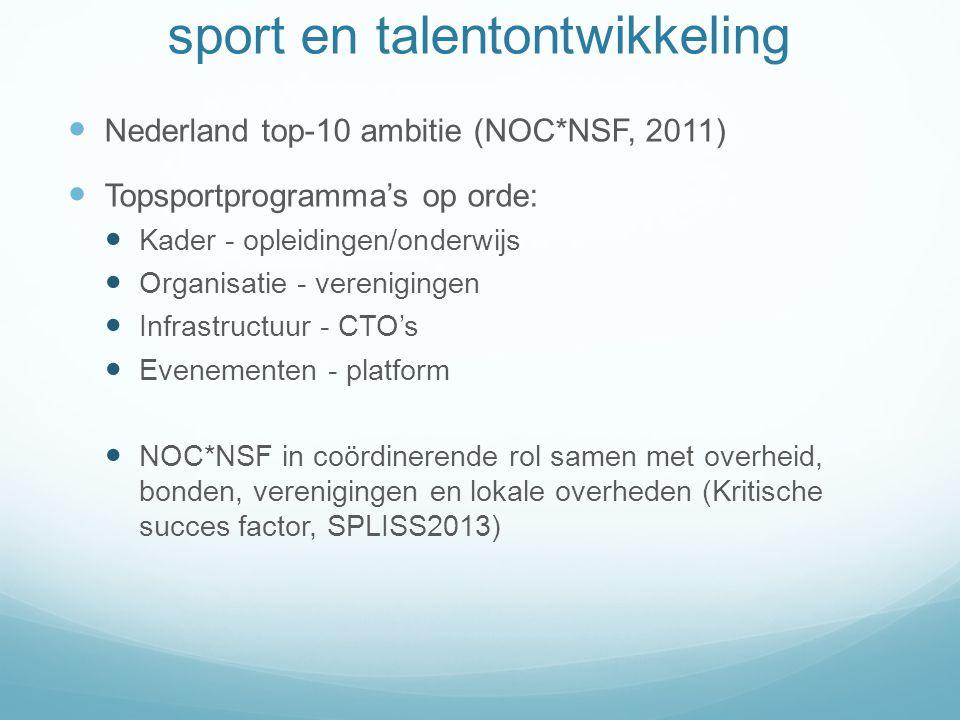 sport en talentontwikkeling Talent heeft gewoonte overal tevoorschijn te komen Twee punten van belang: 1) Herkenning 2) Ontwikkeling Nederland klein land, weinig verloren laten gaan.