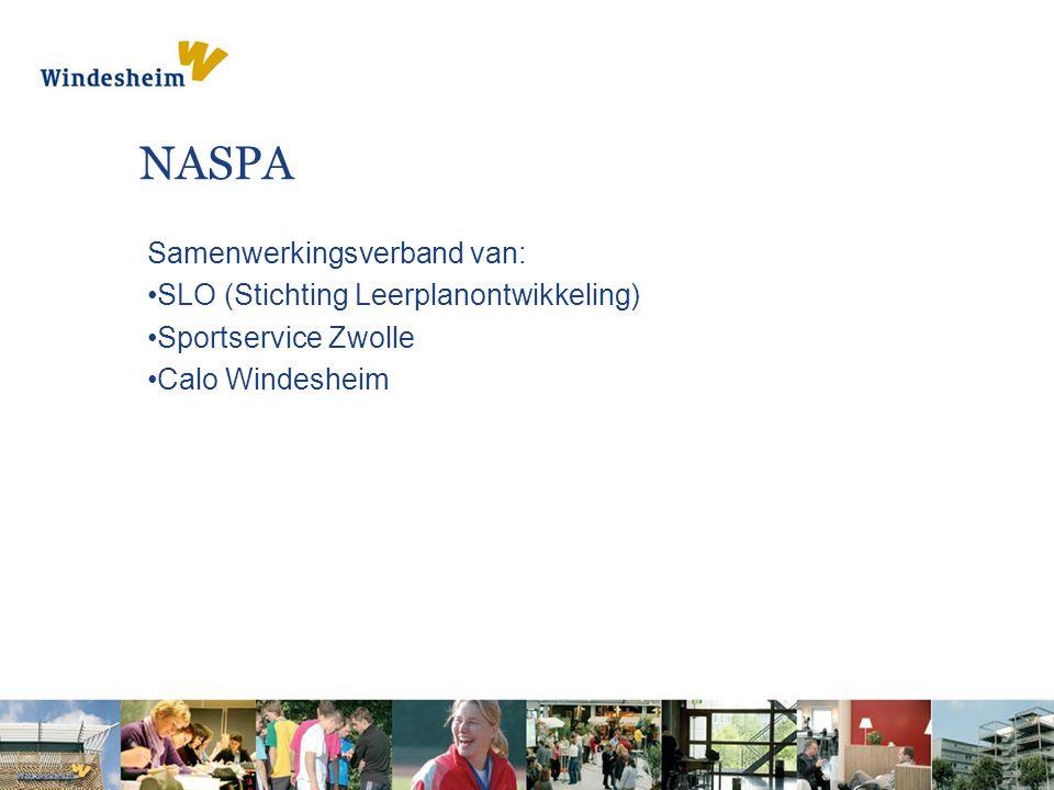 NASPA Samenwerkingsverband van: SLO (Stichting Leerplanontwikkeling) Sportservice Zwolle Calo Windesheim