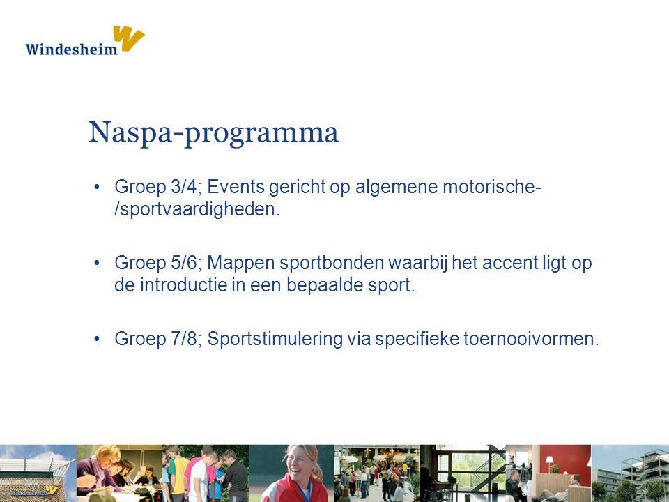 Naspa-programma Groep 3/4; Events gericht op algemene motorische- /sportvaardigheden. Groep 5/6; Mappen sportbonden waarbij het accent ligt op de intr