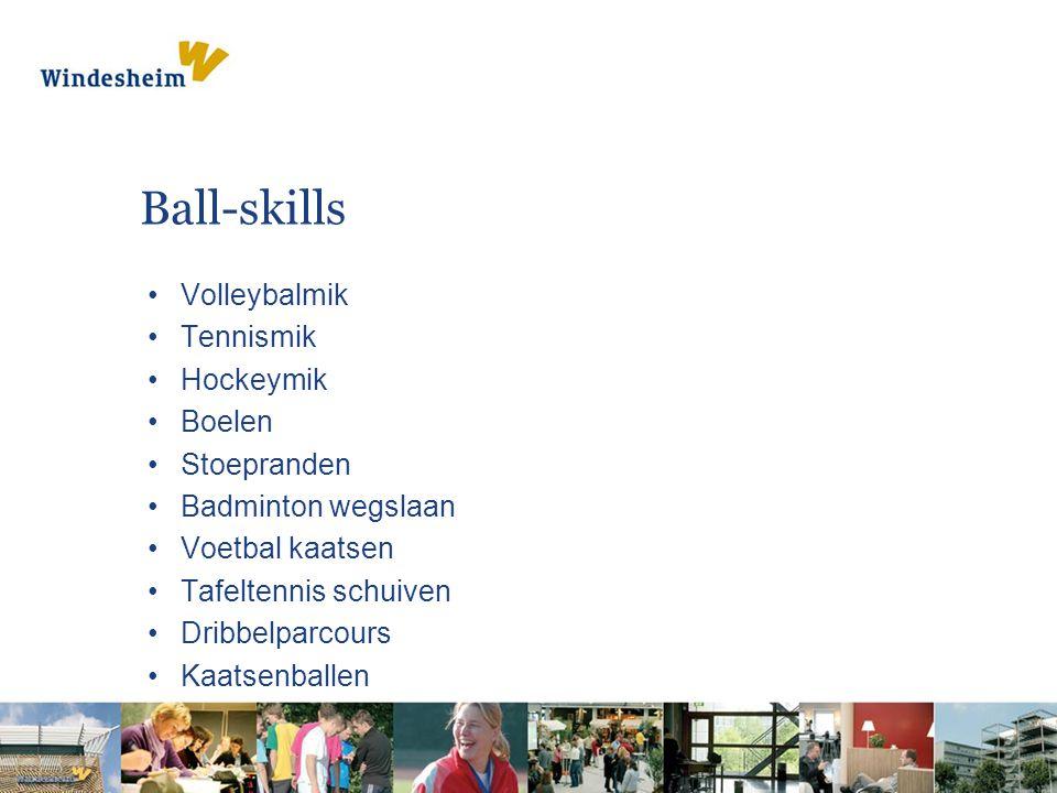 Ball-skills Volleybalmik Tennismik Hockeymik Boelen Stoepranden Badminton wegslaan Voetbal kaatsen Tafeltennis schuiven Dribbelparcours Kaatsenballen