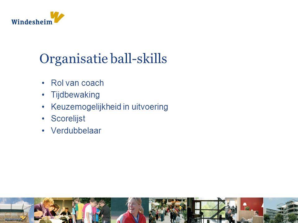 Organisatie ball-skills Rol van coach Tijdbewaking Keuzemogelijkheid in uitvoering Scorelijst Verdubbelaar