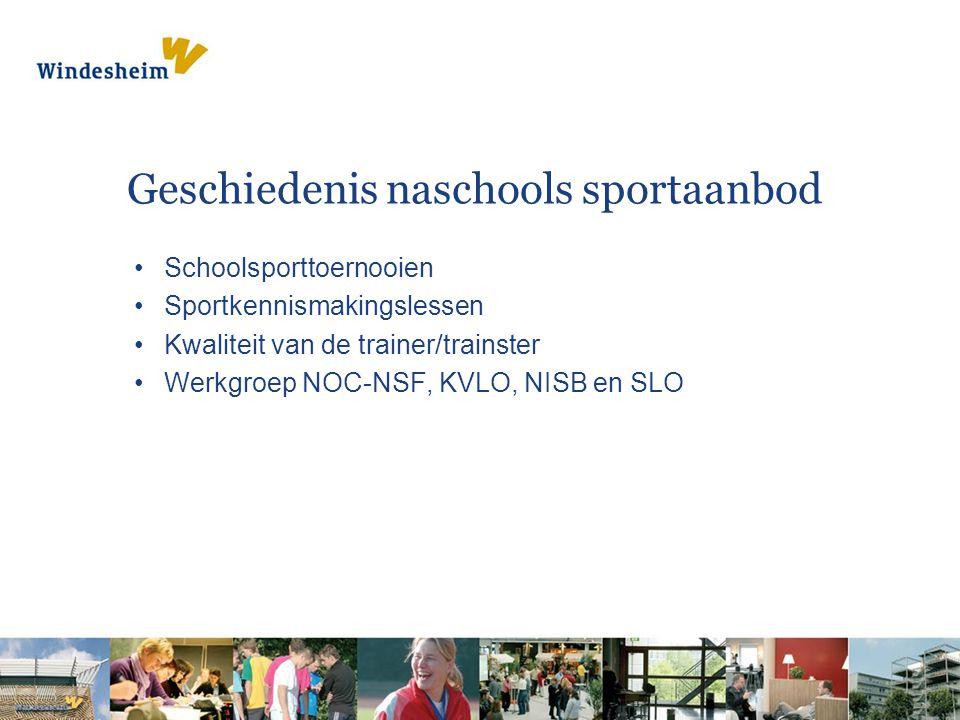 Geschiedenis naschools sportaanbod Schoolsporttoernooien Sportkennismakingslessen Kwaliteit van de trainer/trainster Werkgroep NOC-NSF, KVLO, NISB en