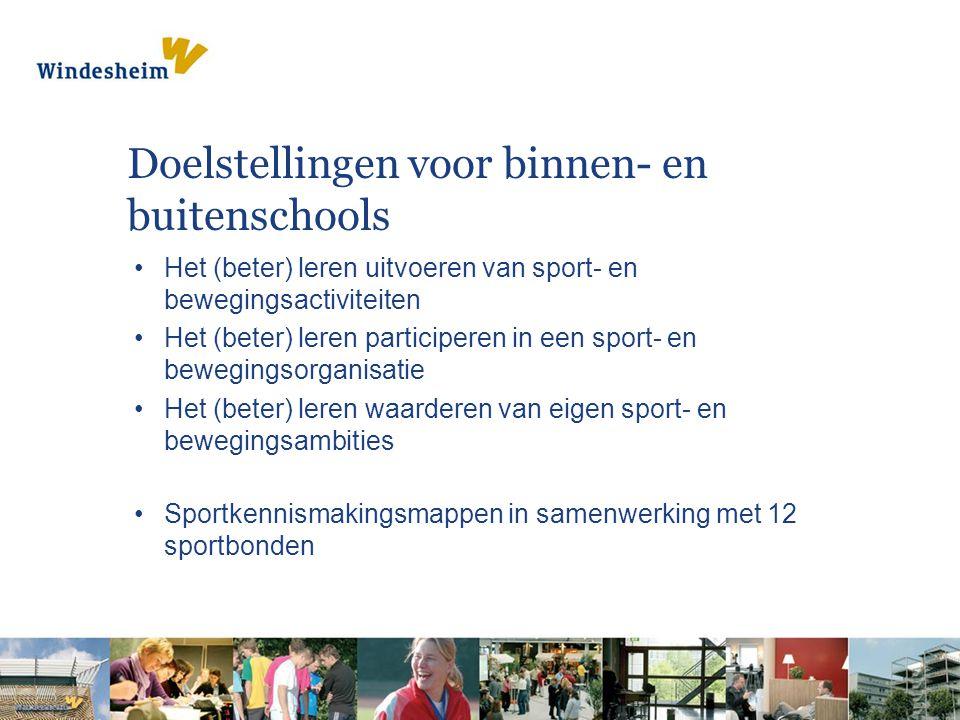 Doelstellingen voor binnen- en buitenschools Het (beter) leren uitvoeren van sport- en bewegingsactiviteiten Het (beter) leren participeren in een sport- en bewegingsorganisatie Het (beter) leren waarderen van eigen sport- en bewegingsambities Sportkennismakingsmappen in samenwerking met 12 sportbonden