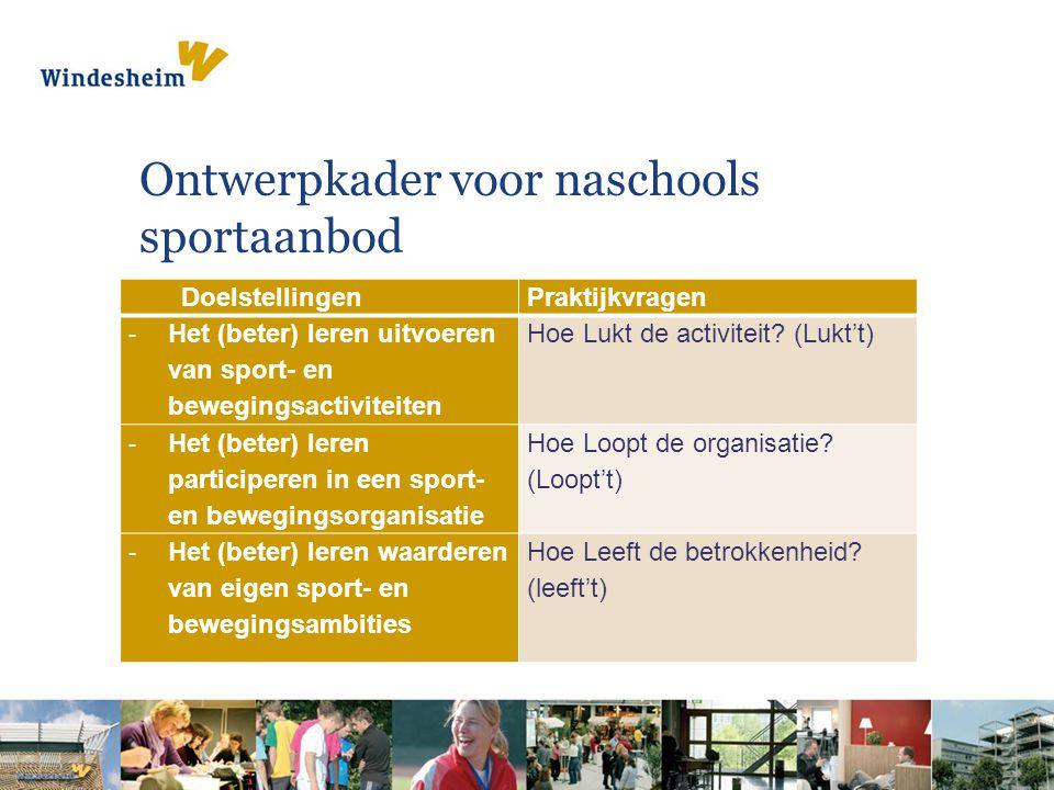Ontwerpkader voor naschools sportaanbod DoelstellingenPraktijkvragen - Het (beter) leren uitvoeren van sport- en bewegingsactiviteiten Hoe Lukt de activiteit.