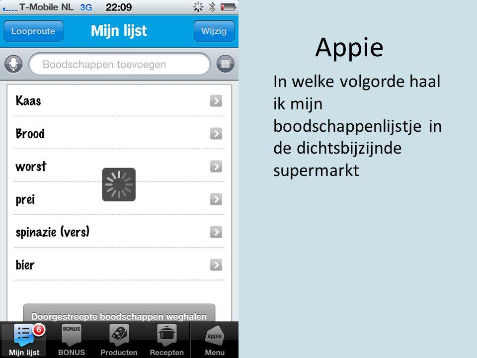Appie In welke volgorde haal ik mijn boodschappenlijstje in de dichtsbijzijnde supermarkt