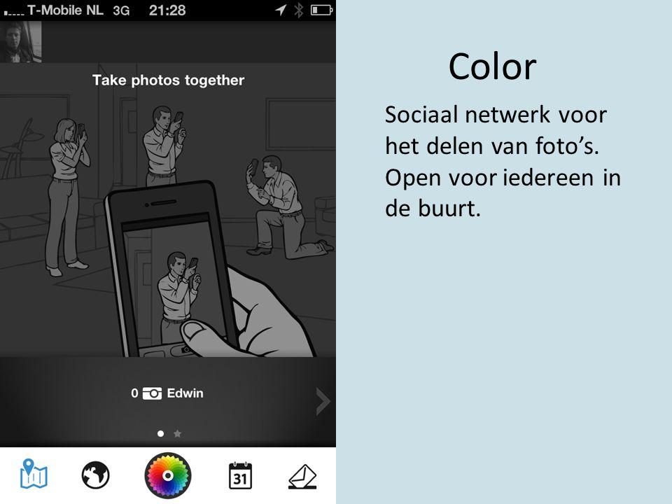 Color Sociaal netwerk voor het delen van foto's. Open voor iedereen in de buurt.