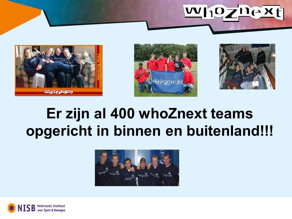 Er zijn al 400 whoZnext teams opgericht in binnen en buitenland!!!