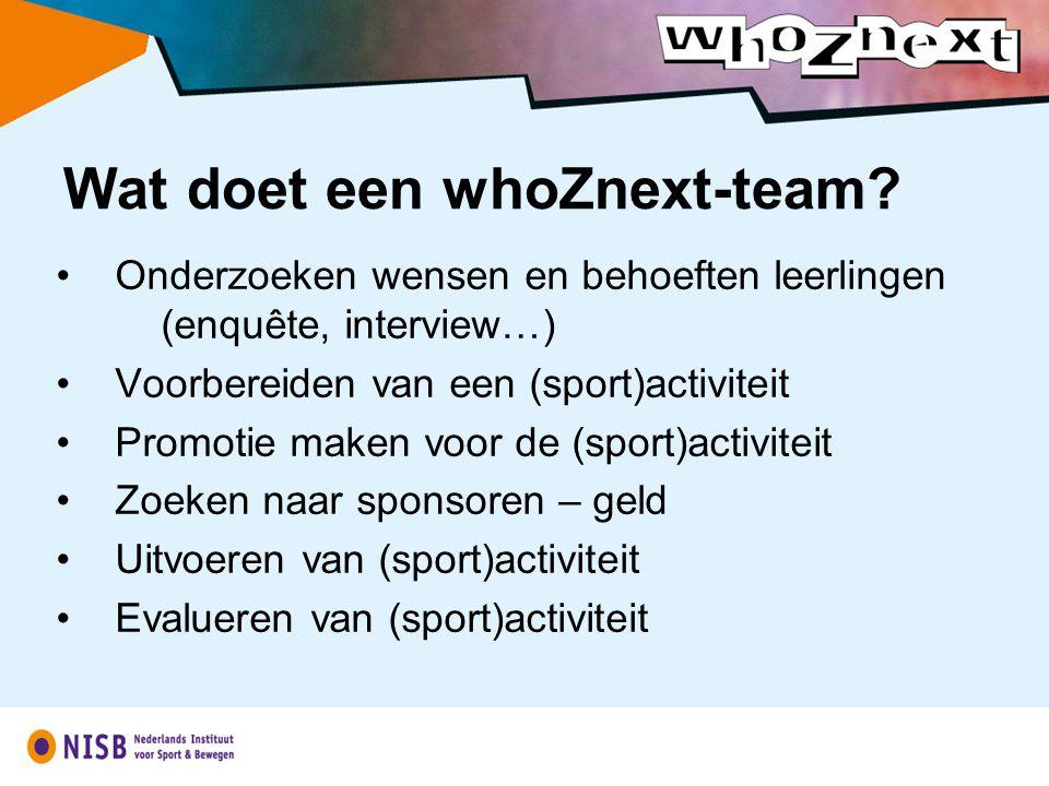 Onderzoeken wensen en behoeften leerlingen (enquête, interview…) Voorbereiden van een (sport)activiteit Promotie maken voor de (sport)activiteit Zoeken naar sponsoren – geld Uitvoeren van (sport)activiteit Evalueren van (sport)activiteit Wat doet een whoZnext-team