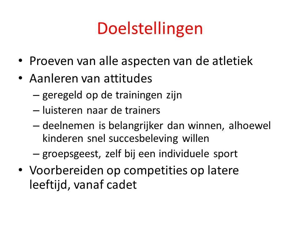 Doelstellingen Proeven van alle aspecten van de atletiek Aanleren van attitudes – geregeld op de trainingen zijn – luisteren naar de trainers – deelne