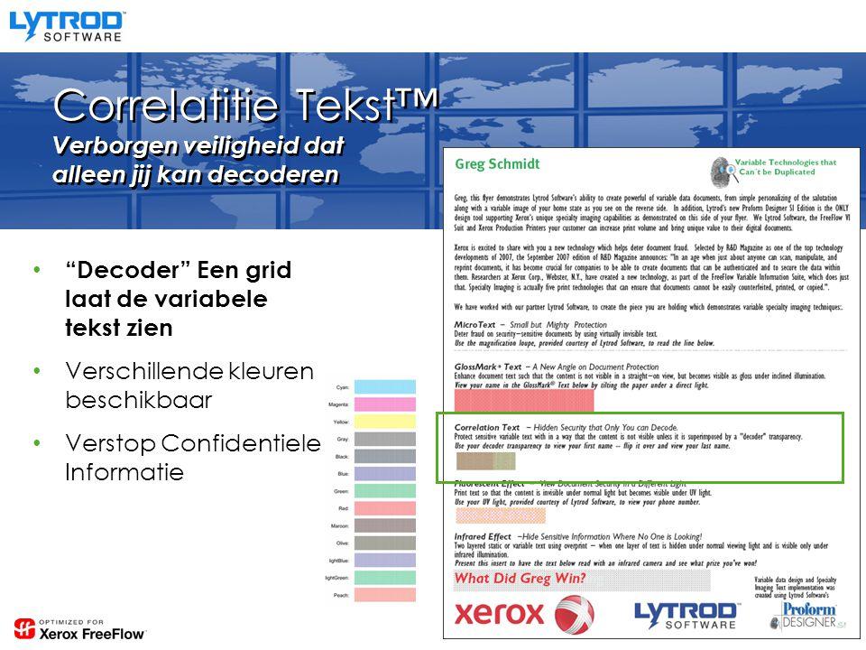 Correlatitie Tekst™ Verborgen veiligheid dat alleen jij kan decoderen Decoder Een grid laat de variabele tekst zien Verschillende kleuren beschikbaar Verstop Confidentiele Informatie