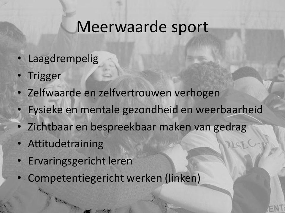 Meerwaarde sport Laagdrempelig Trigger Zelfwaarde en zelfvertrouwen verhogen Fysieke en mentale gezondheid en weerbaarheid Zichtbaar en bespreekbaar m