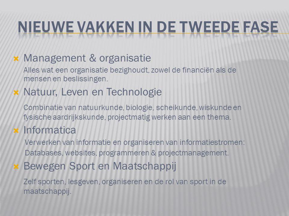  Management & organisatie Alles wat een organisatie bezighoudt, zowel de financiën als de mensen en beslissingen.