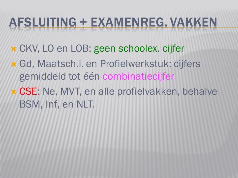  CKV, LO en LOB: geen schoolex. cijfer  Gd, Maatsch.l.