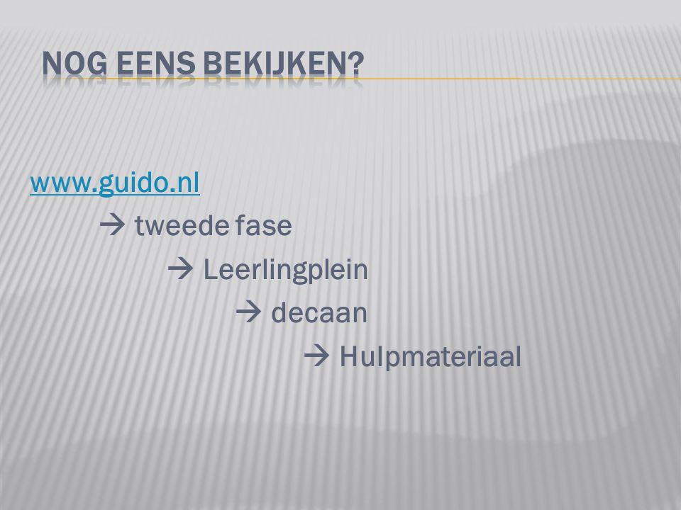 www.guido.nl  tweede fase  Leerlingplein  decaan  Hulpmateriaal