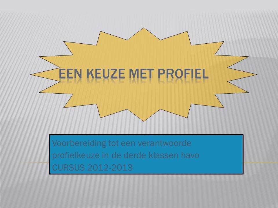Voorbereiding tot een verantwoorde profielkeuze in de derde klassen havo CURSUS 2012-2013